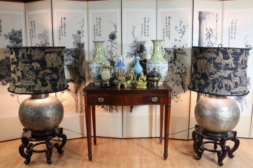 PAIR OF TURKISH LAMPS WITH ANIMAL FIGURE SHADES