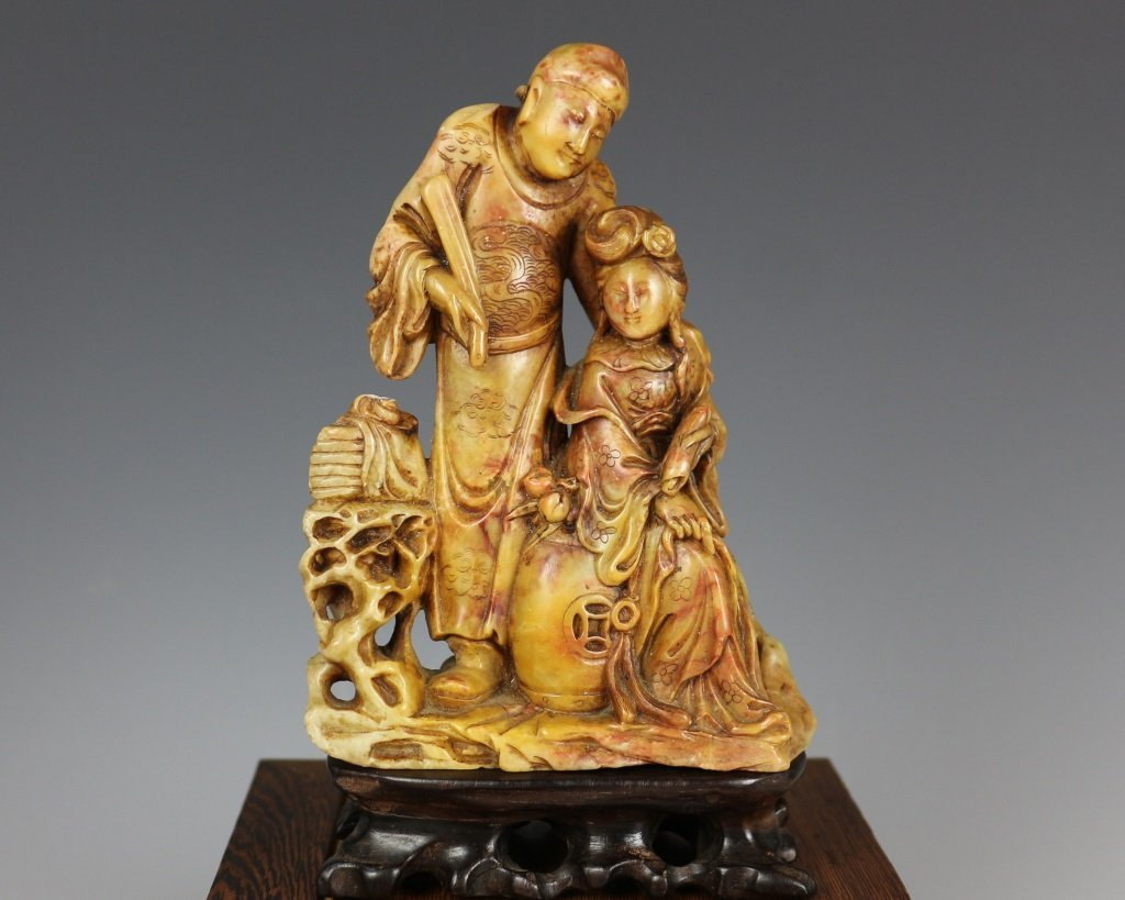 QING SOAPSTONE FIGURE CARVING - 2