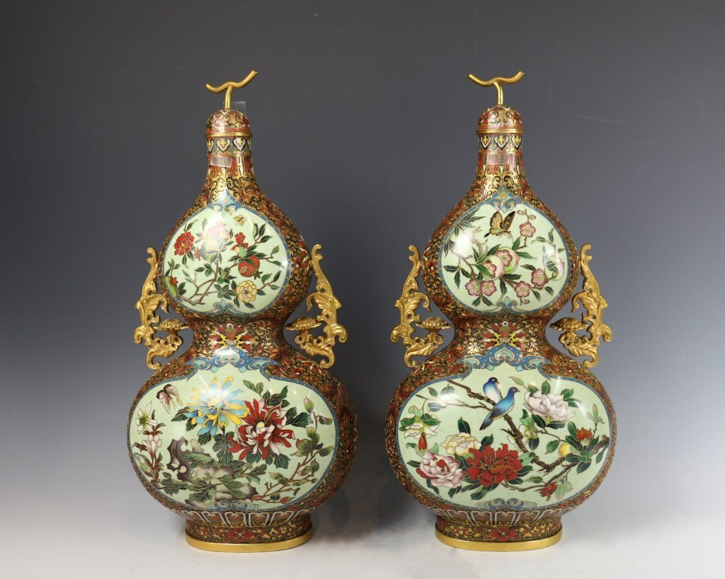 PAIR OF CLOISONNE DOUBLE-GOURD VASES