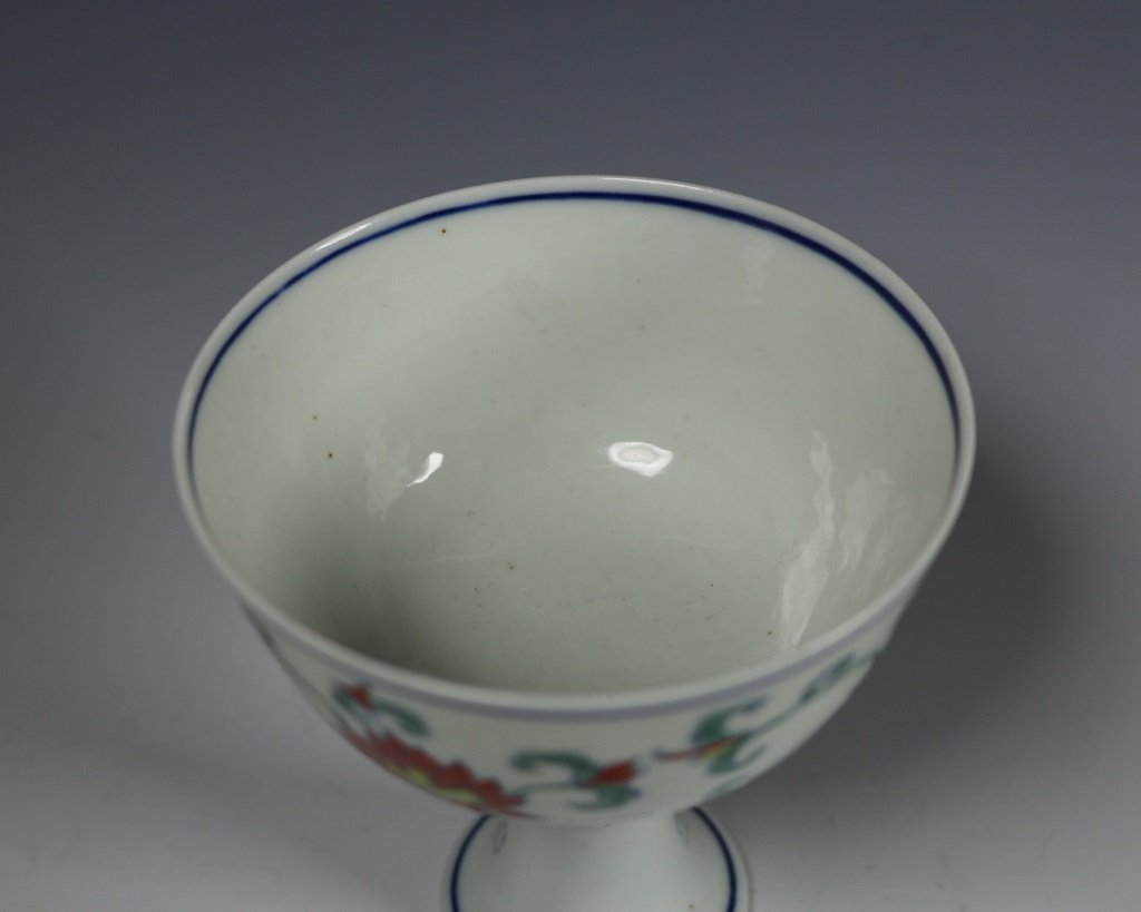 CHENGHUA MARK DOUCAI HIGH FOOT DISH - 3