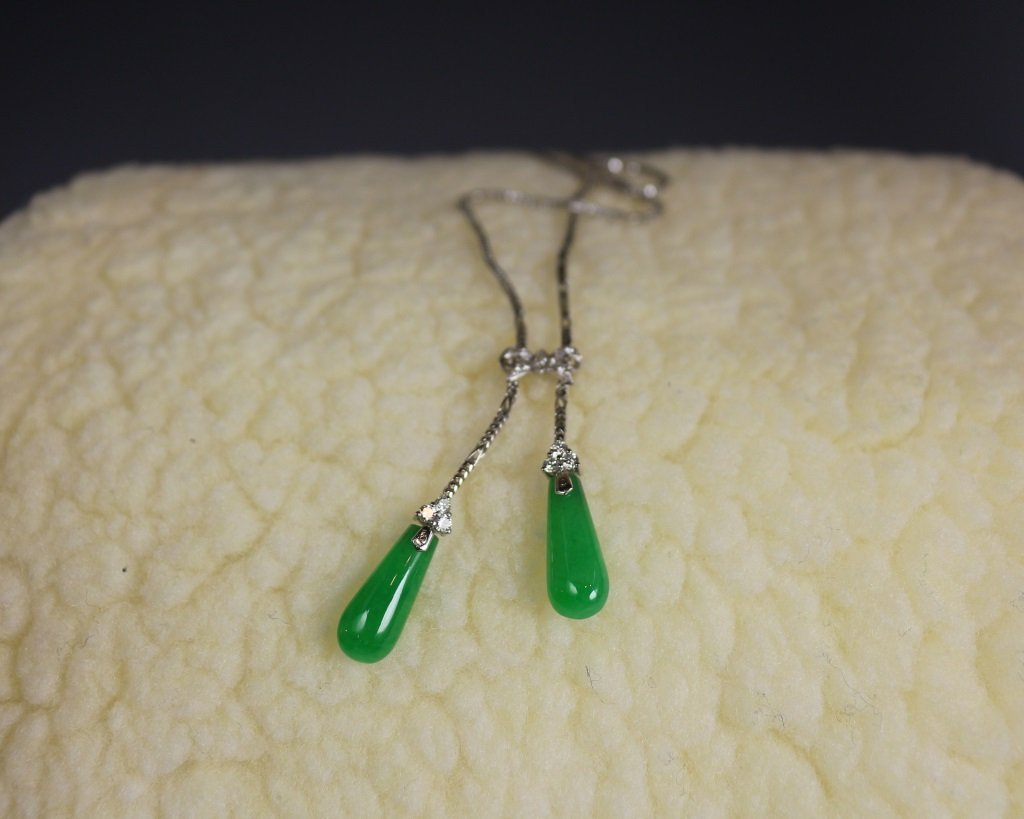 JADEITE WATER DROP SHAPED NECKLACE