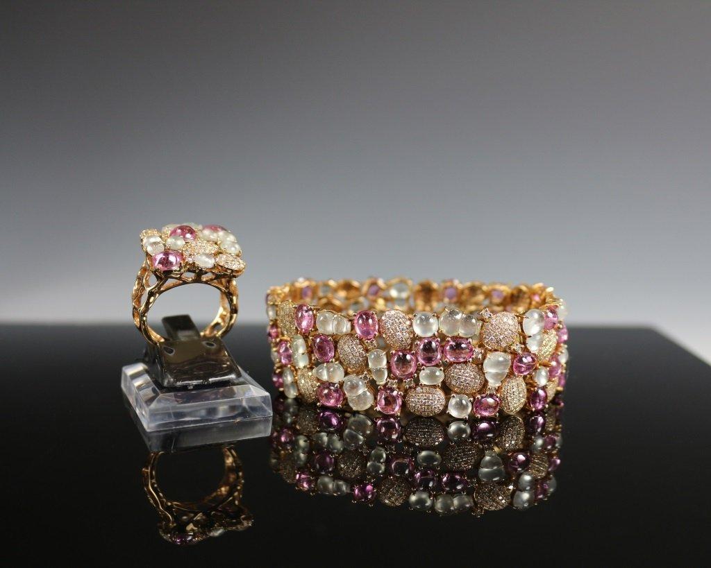 JADE ICE&PINK TOURMALINE BRACELET&RING