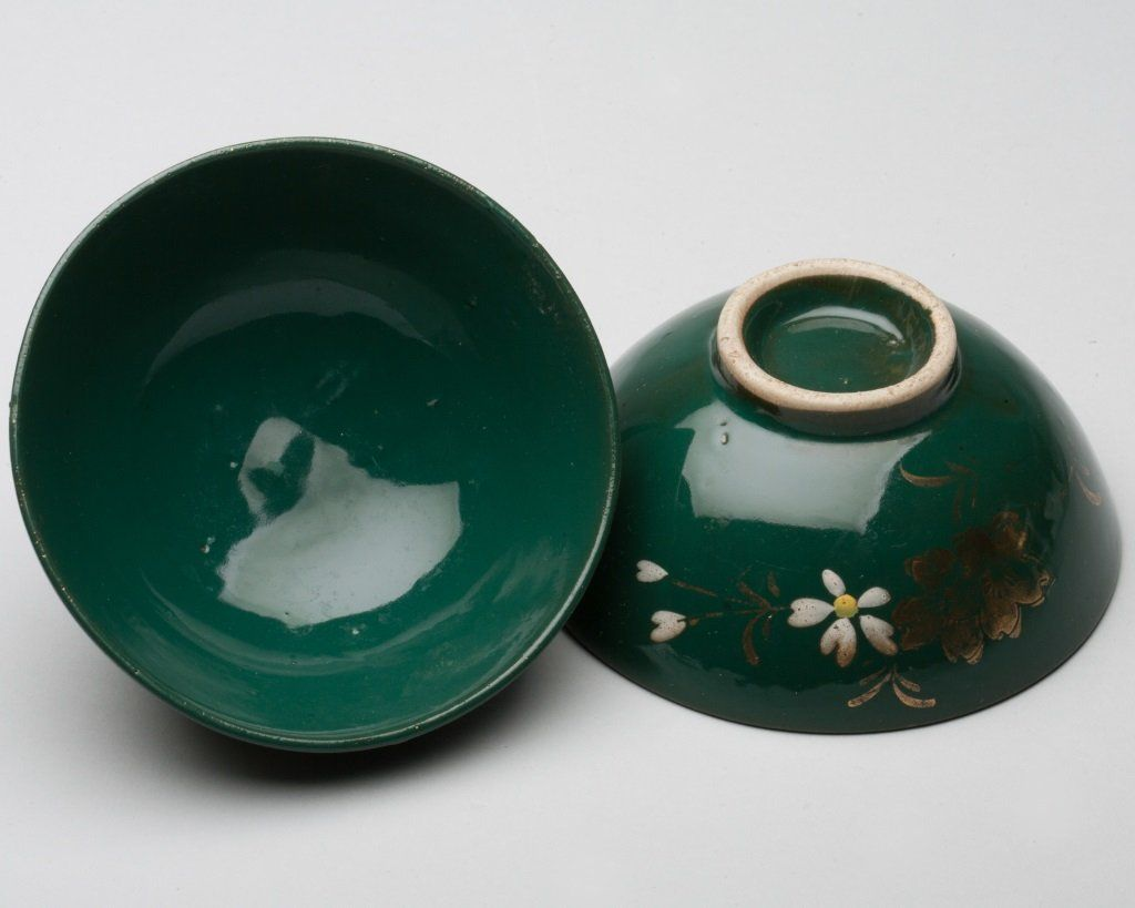 Pair of Japanese Green Glaze Dishes