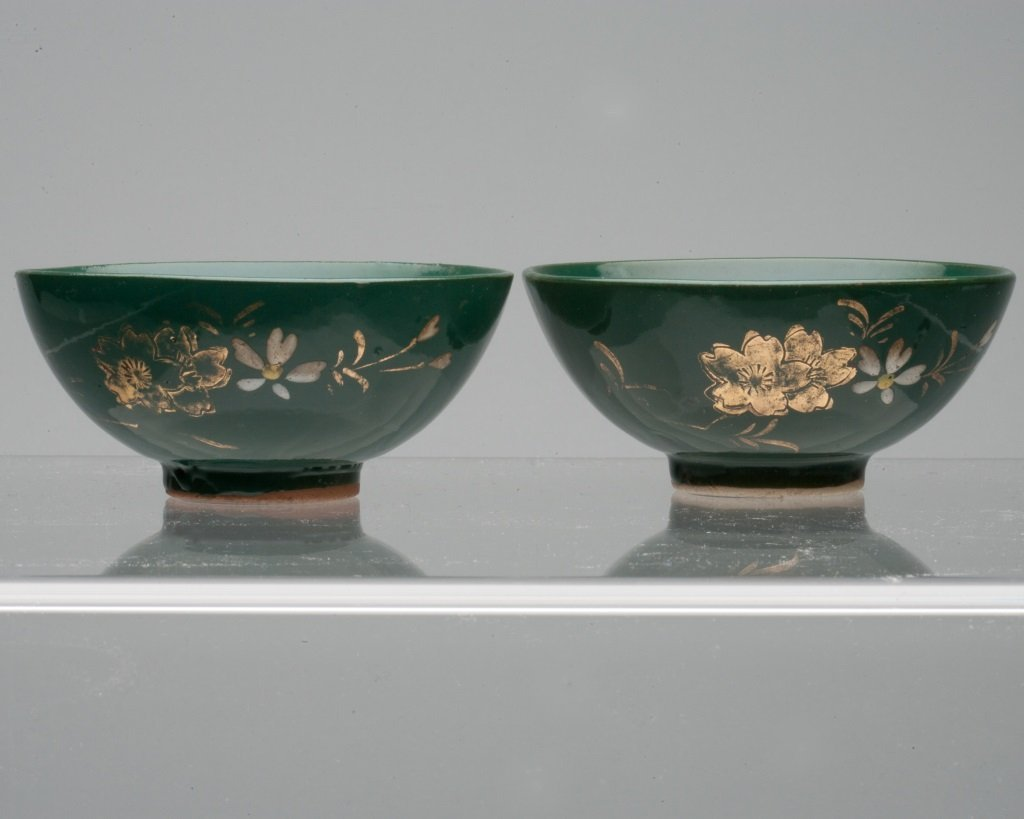 Pair of Japanese Green Glaze Dishes - 2