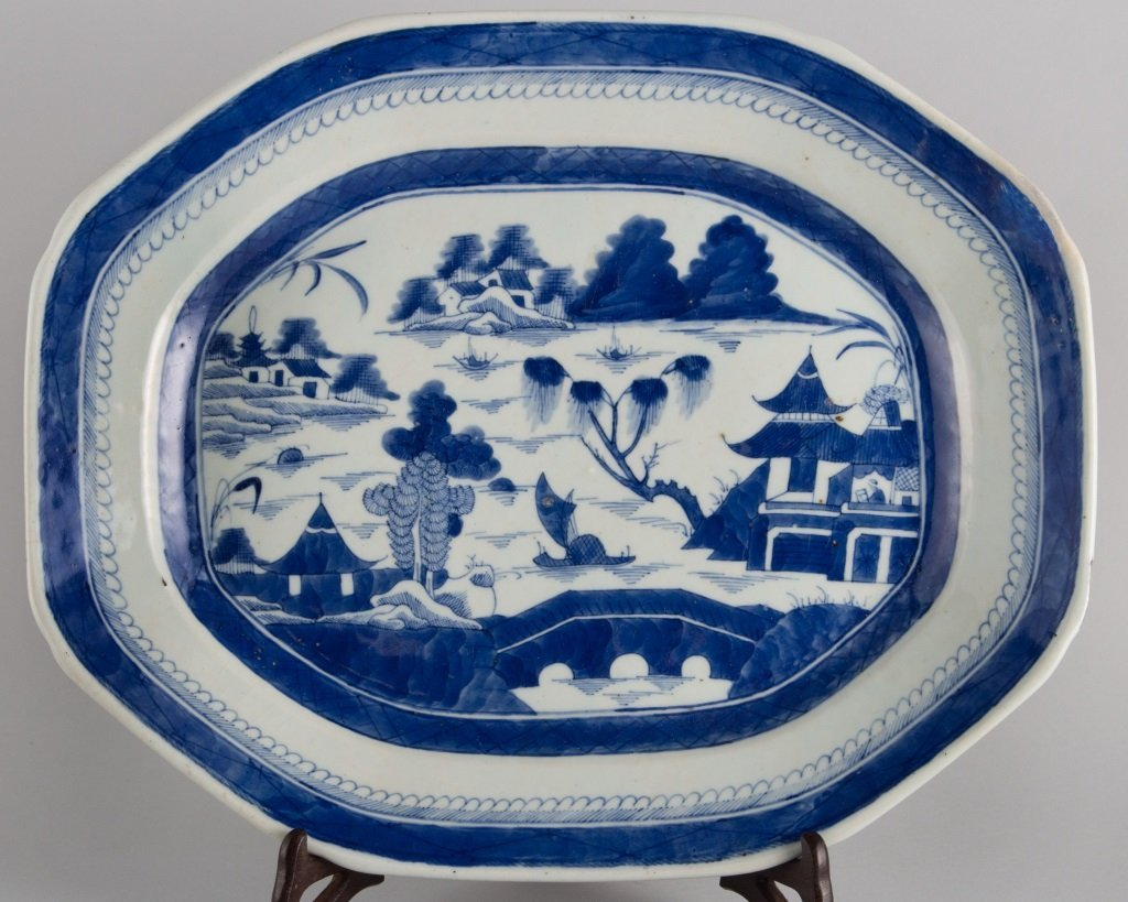 LATE QING BLUE & WHITE LARGE PLATE