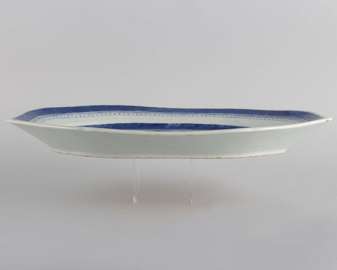 LATE QING BLUE & WHITE LARGE PLATE - 4