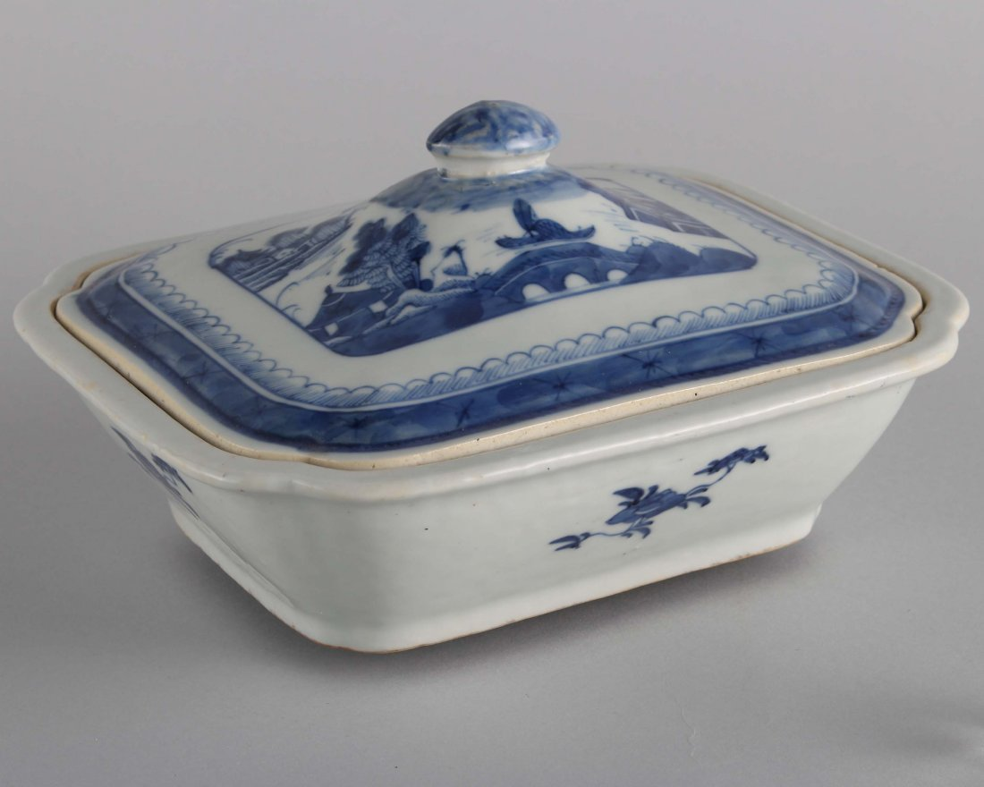LATE QING BLUE & WHITE SQUARE COVER BOWL