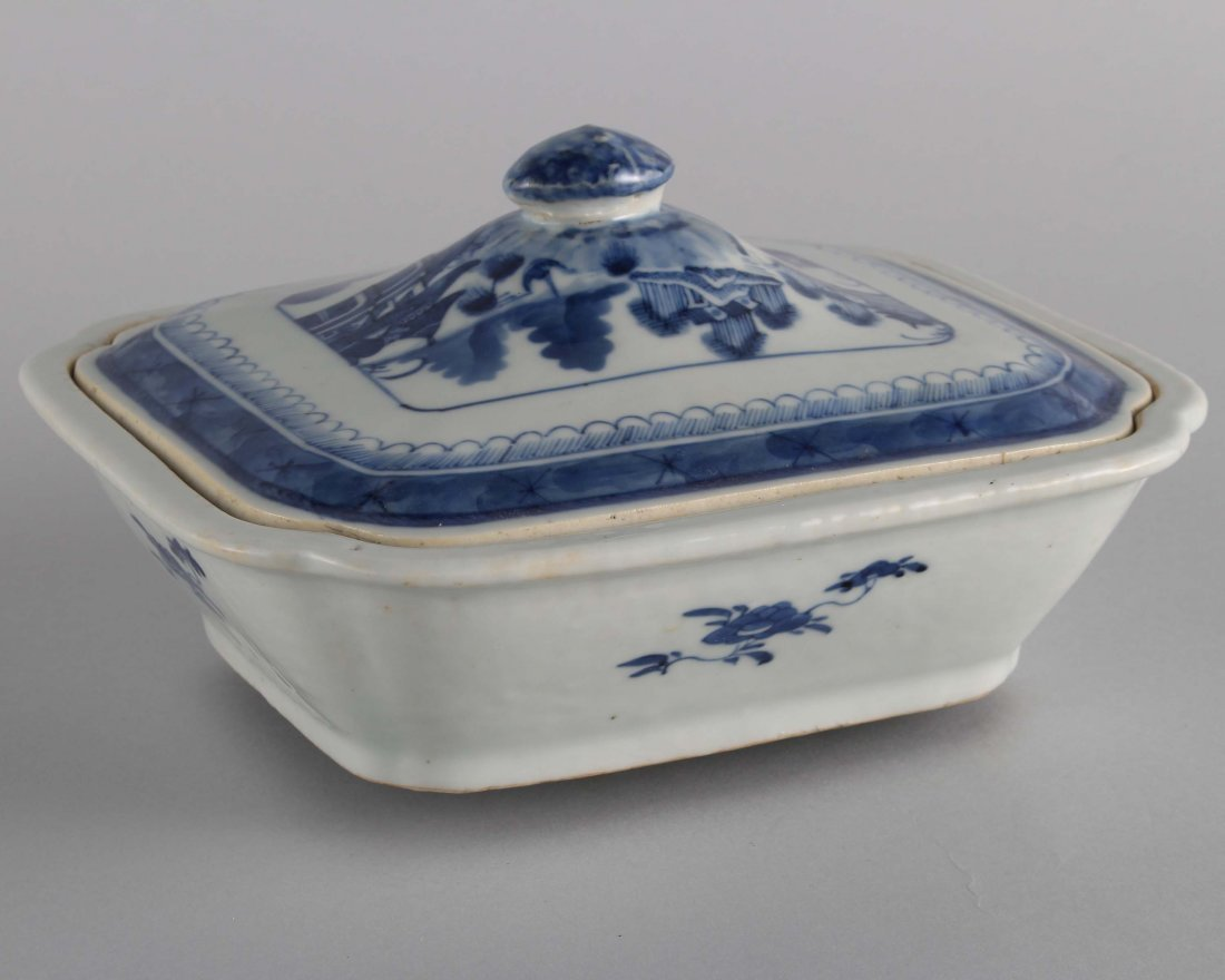LATE QING BLUE & WHITE SQUARE COVER BOWL - 2