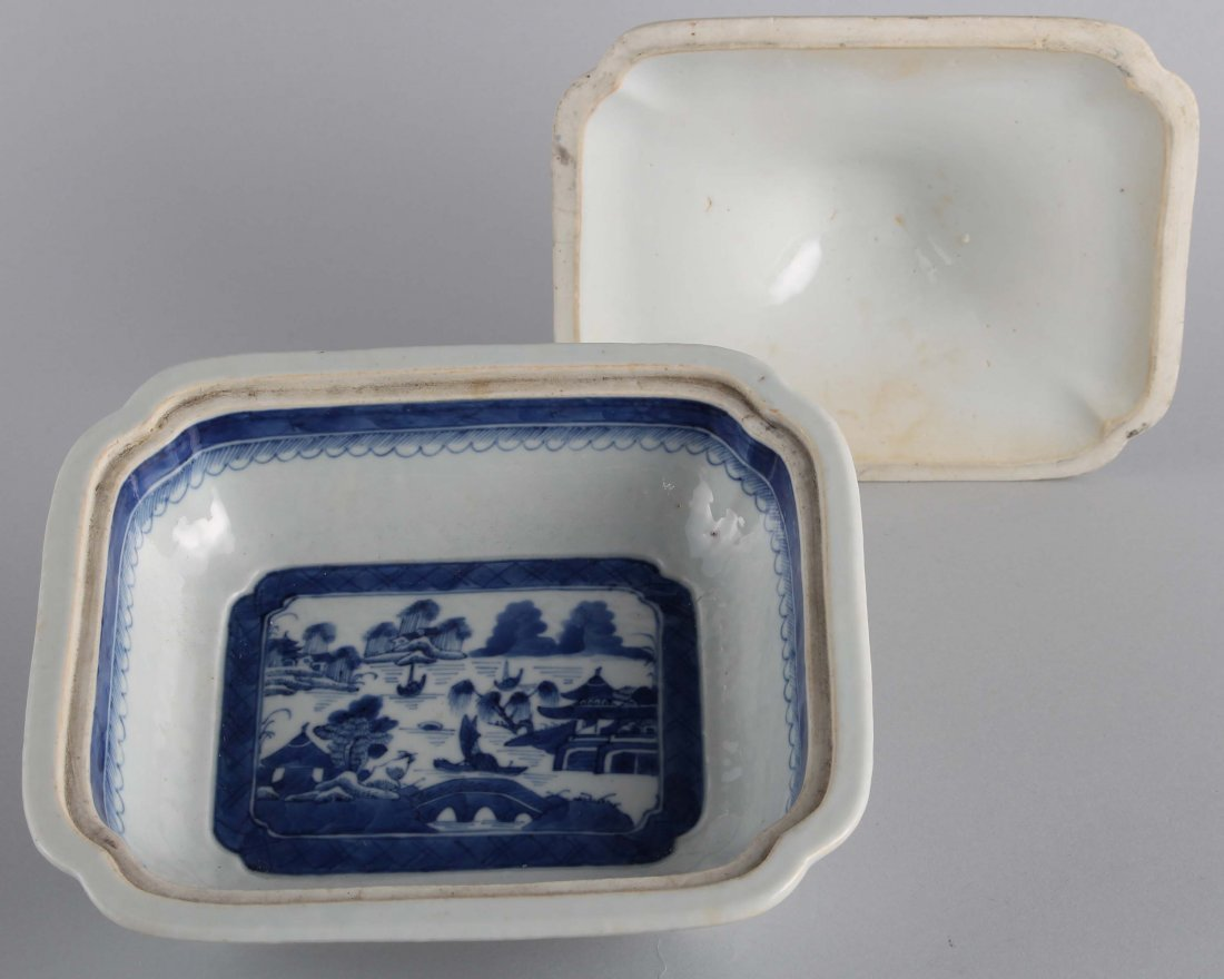 LATE QING BLUE & WHITE SQUARE COVER BOWL - 3