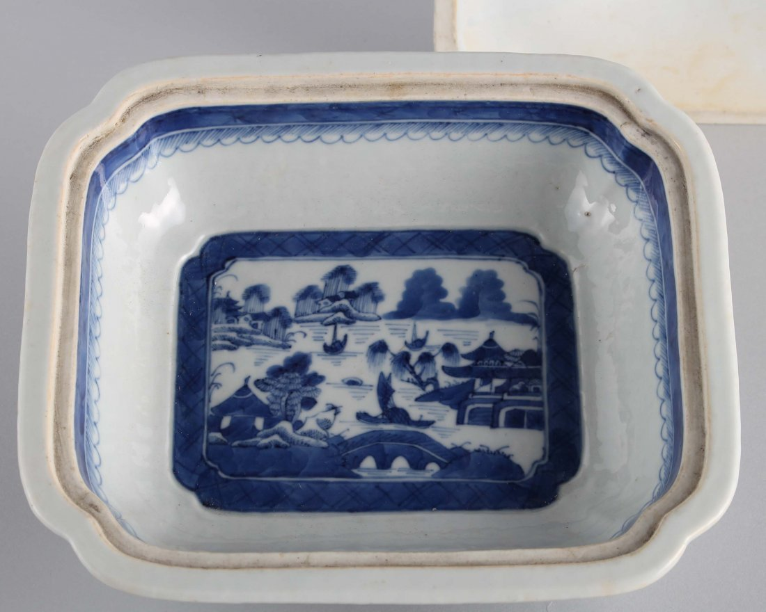 LATE QING BLUE & WHITE SQUARE COVER BOWL - 4