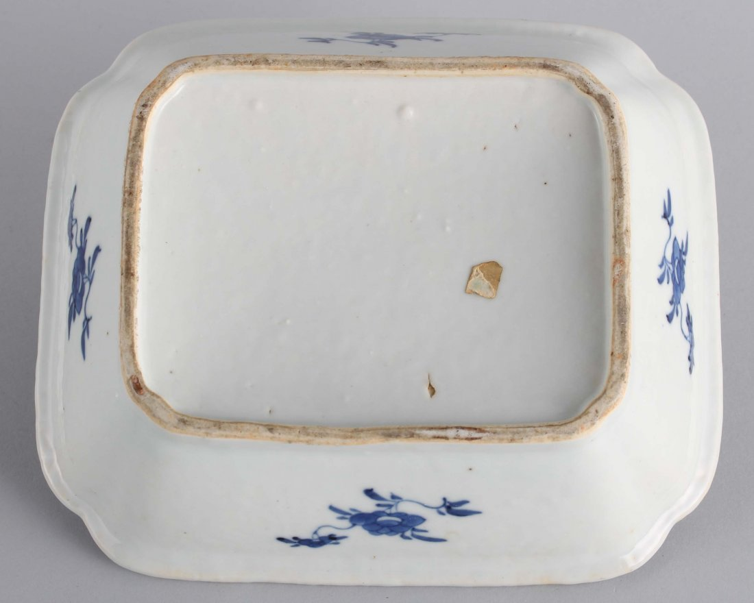 LATE QING BLUE & WHITE SQUARE COVER BOWL - 5