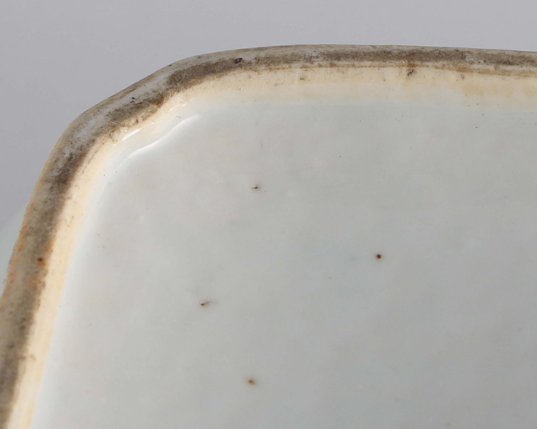 LATE QING BLUE & WHITE SQUARE COVER BOWL - 7