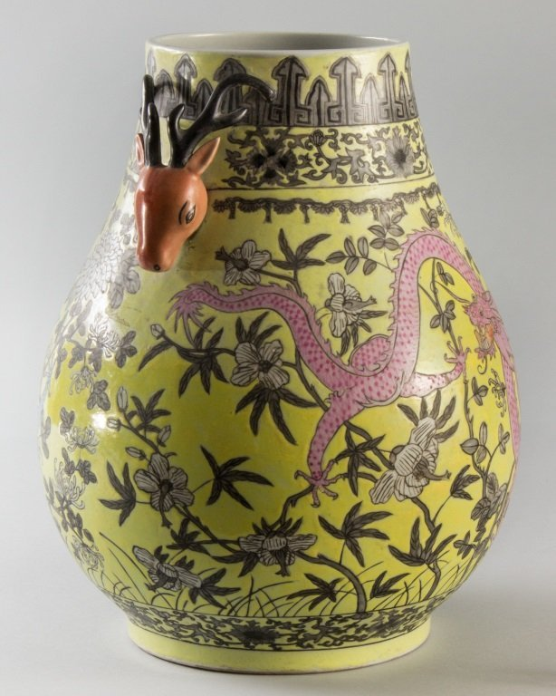 DEER HANDLES AND DRAGON DESIGN VASE - 2