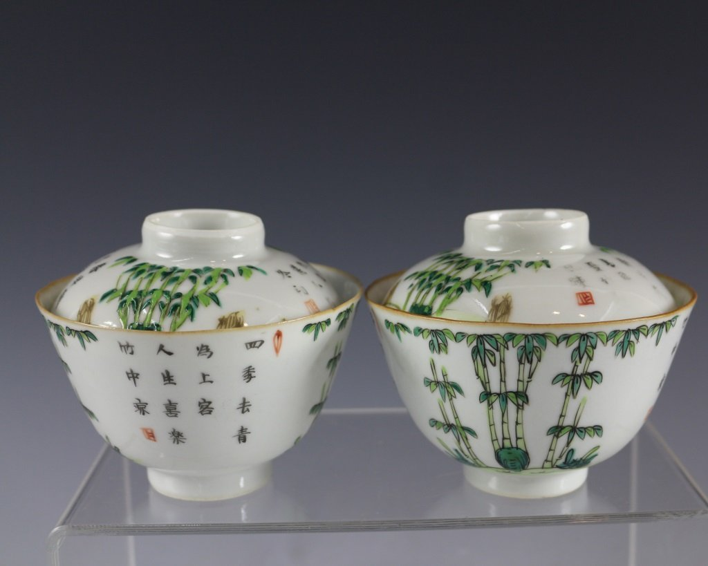 PAIR OF TEABOWLS WITH COVERS
