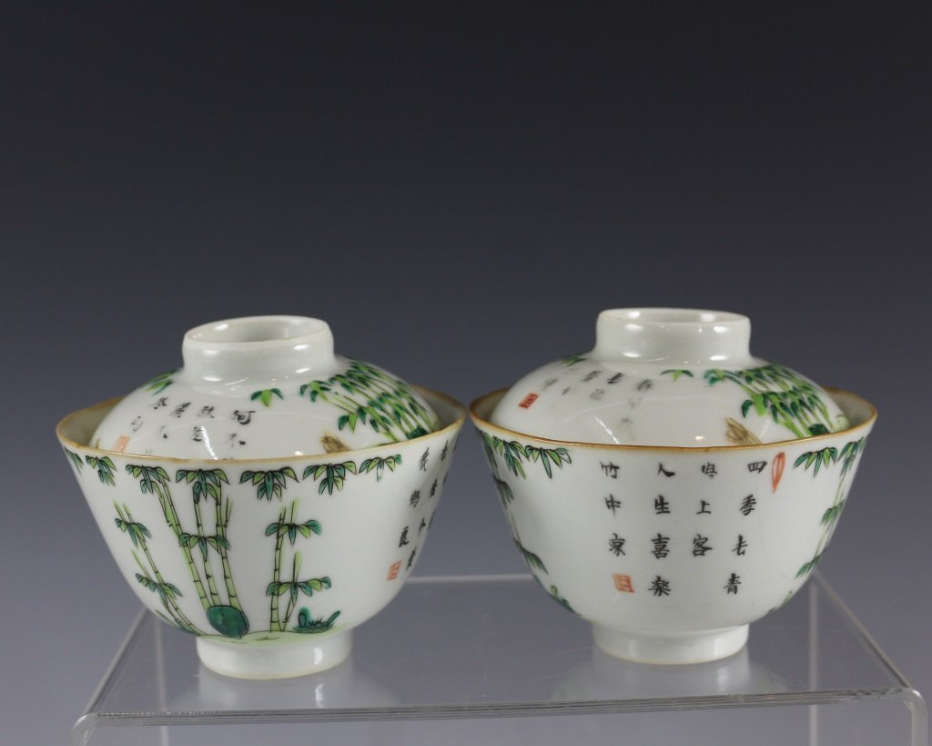 PAIR OF TEABOWLS WITH COVERS - 2