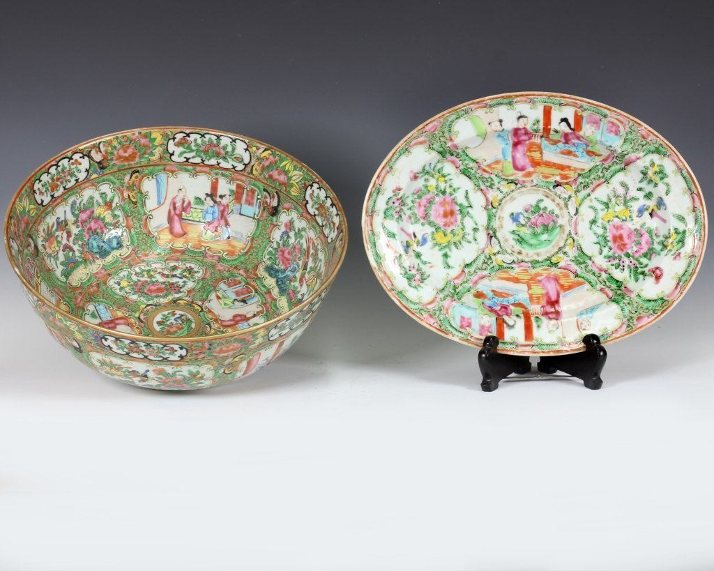 Large Cantonese Famille Rose Punch Bowl and Platte