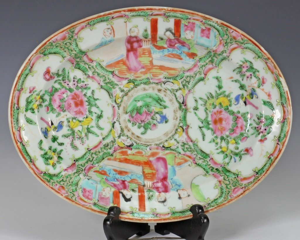Large Cantonese Famille Rose Punch Bowl and Platte - 2
