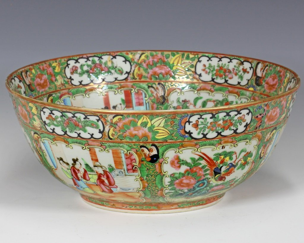 Large Cantonese Famille Rose Punch Bowl and Platte - 7