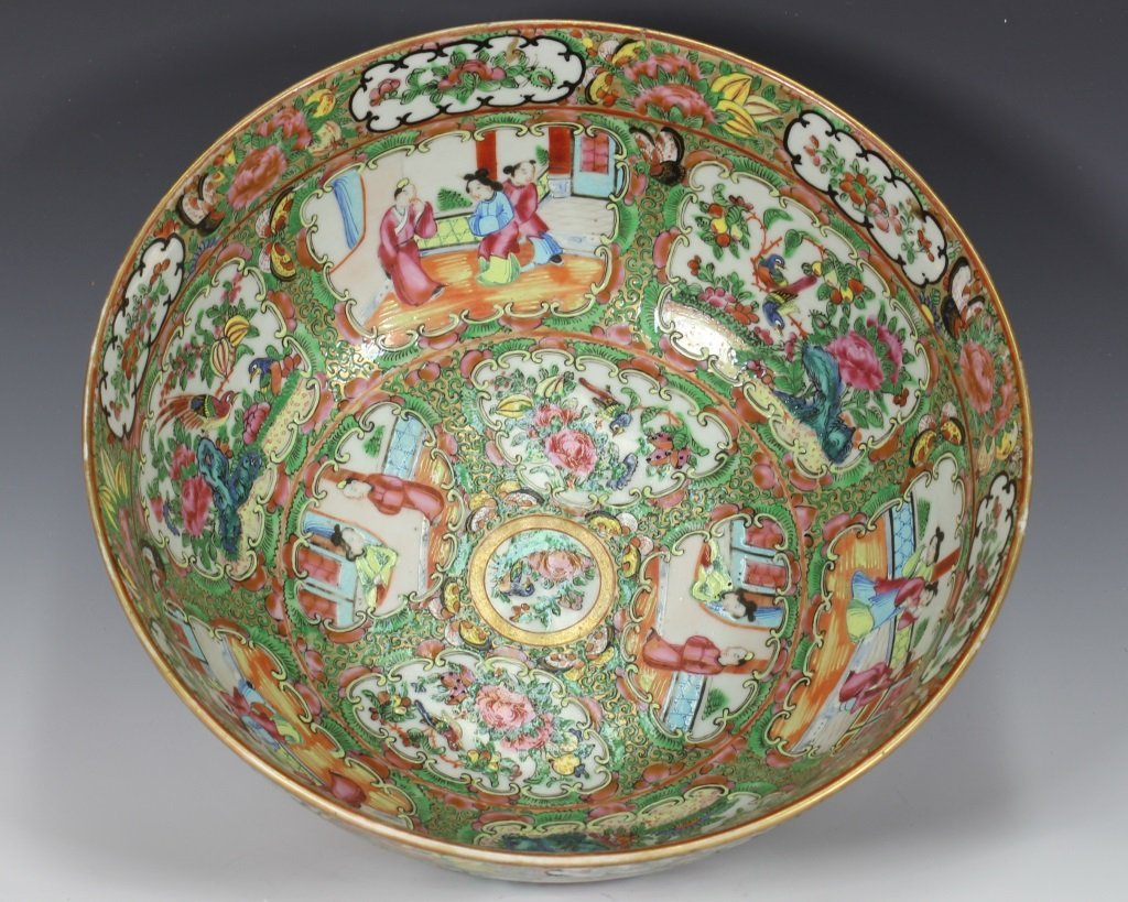 Large Cantonese Famille Rose Punch Bowl and Platte - 9