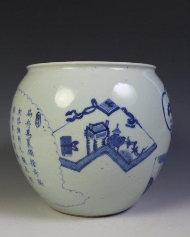 DAQING KANGXI NIANZHI MARK BLUE & WHITE VASE - 4