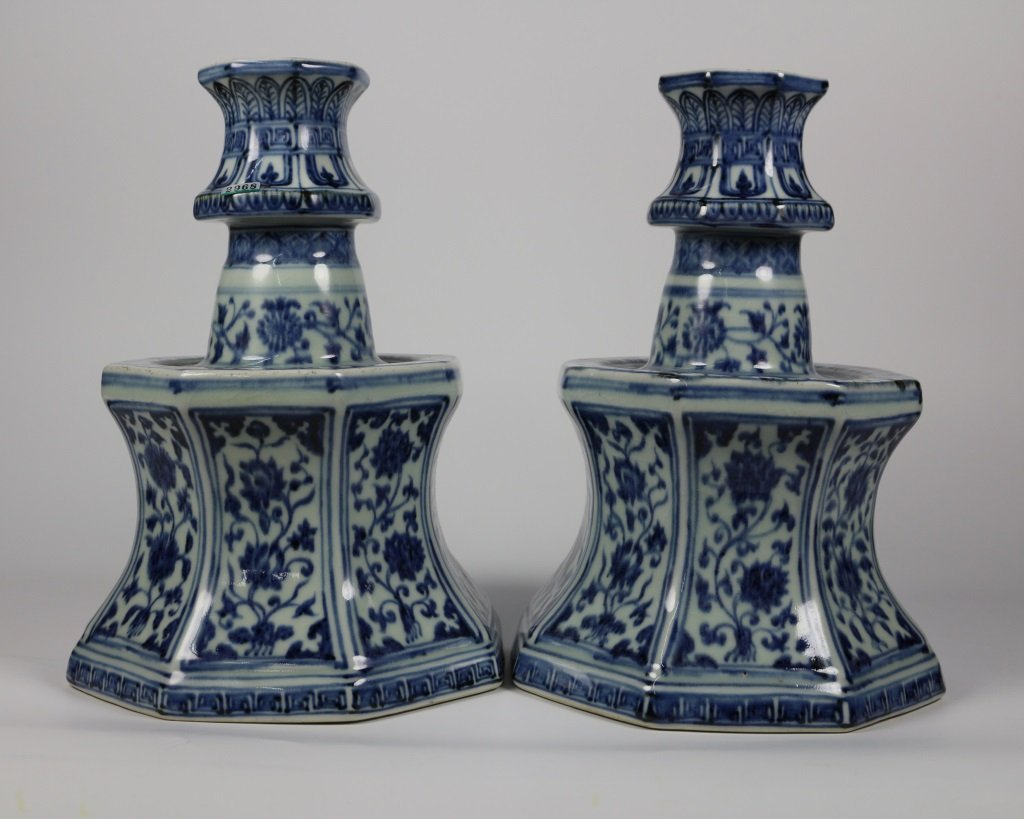 PAIR OF MING BLUE& WHITE CANDLESTICKS