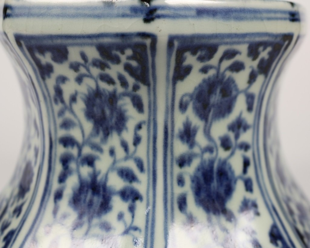 PAIR OF MING BLUE& WHITE CANDLESTICKS - 6
