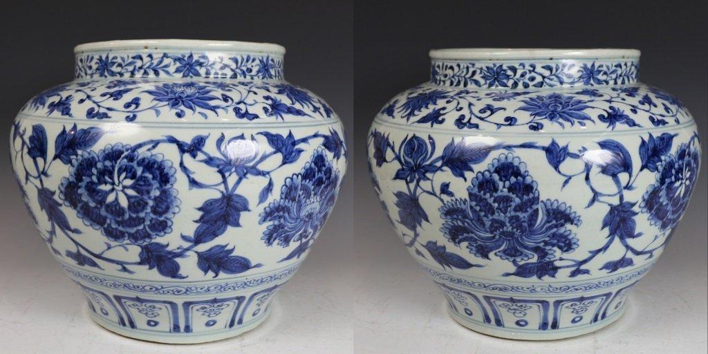 BLUE&WHITE LOTUES PATTERN JAR - 2