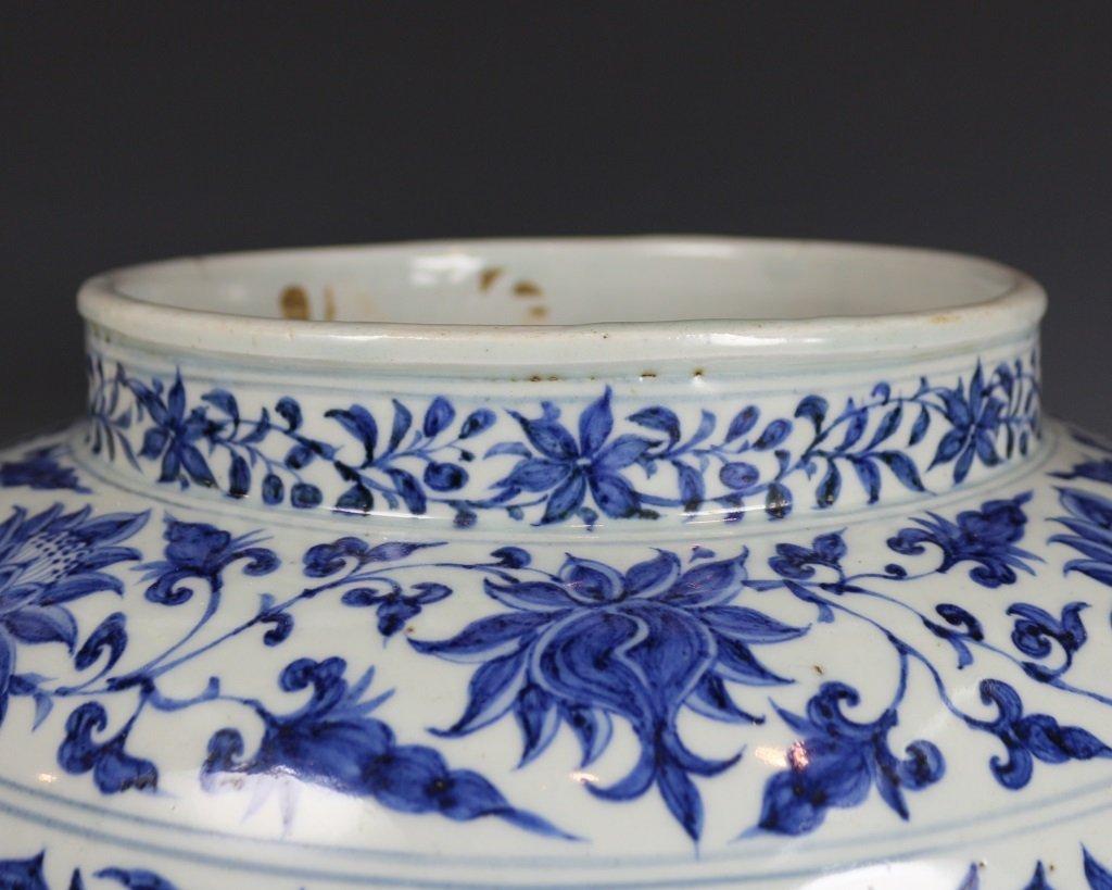 BLUE&WHITE LOTUES PATTERN JAR - 3
