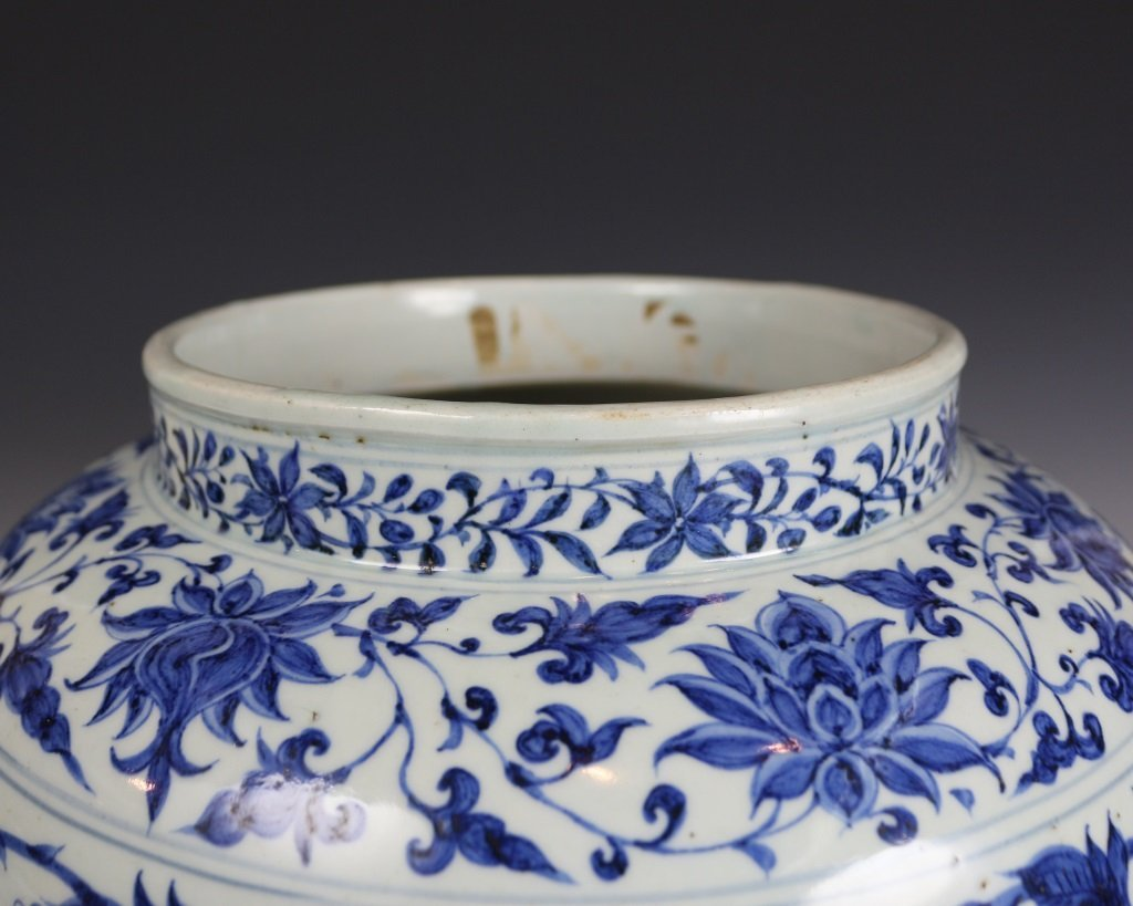 BLUE&WHITE LOTUES PATTERN JAR - 4