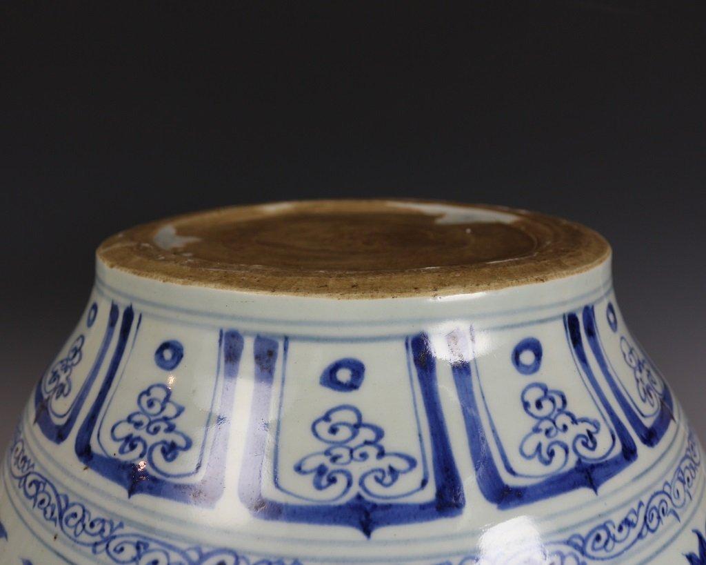 BLUE&WHITE LOTUES PATTERN JAR - 6