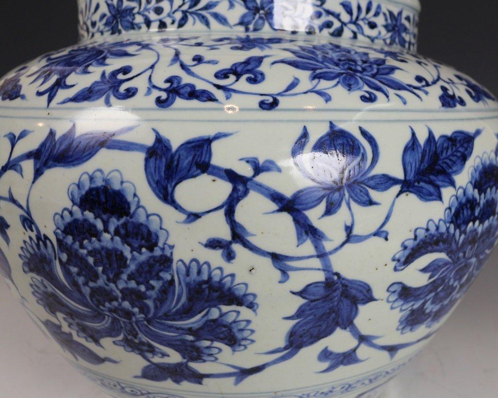BLUE&WHITE LOTUES PATTERN JAR - 8