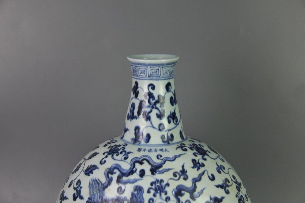 MING XUANDE MARK BLUE&WHITE FLAT VASE - 3