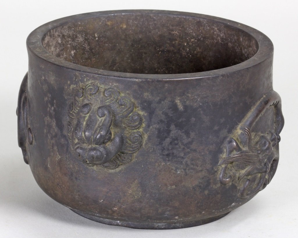 QING BRONZE CENSER CARVING WITH DRAGON AND SONGHU
