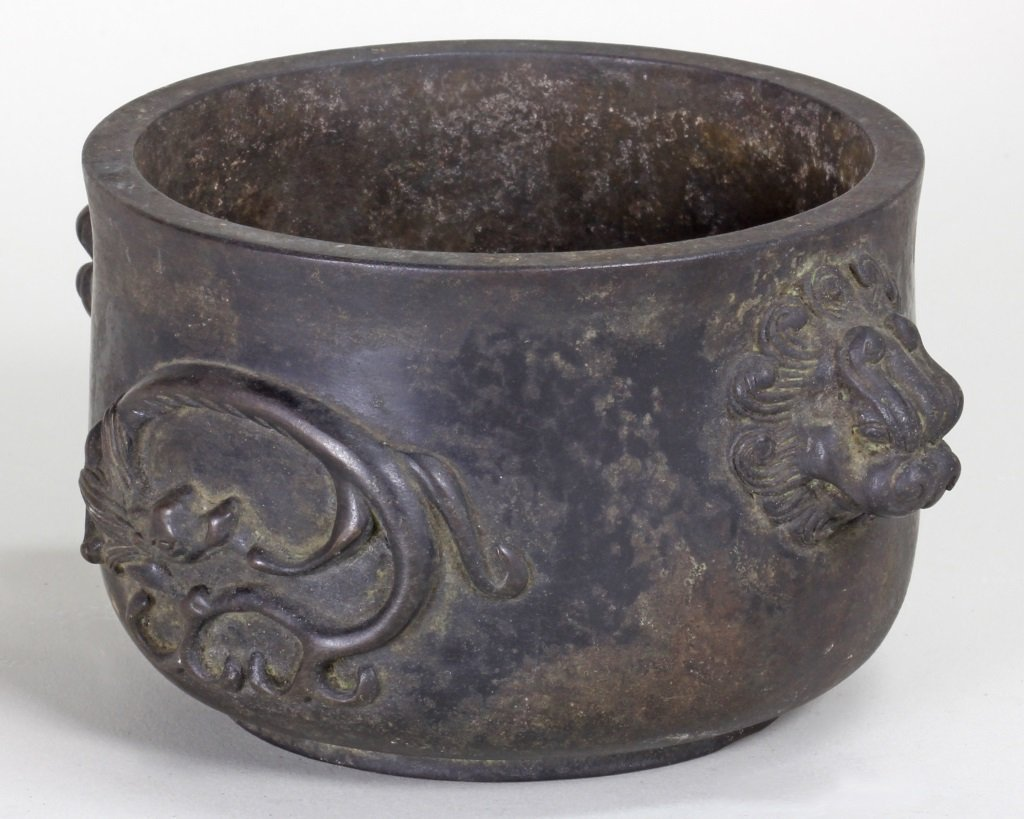 QING BRONZE CENSER CARVING WITH DRAGON AND SONGHU - 2
