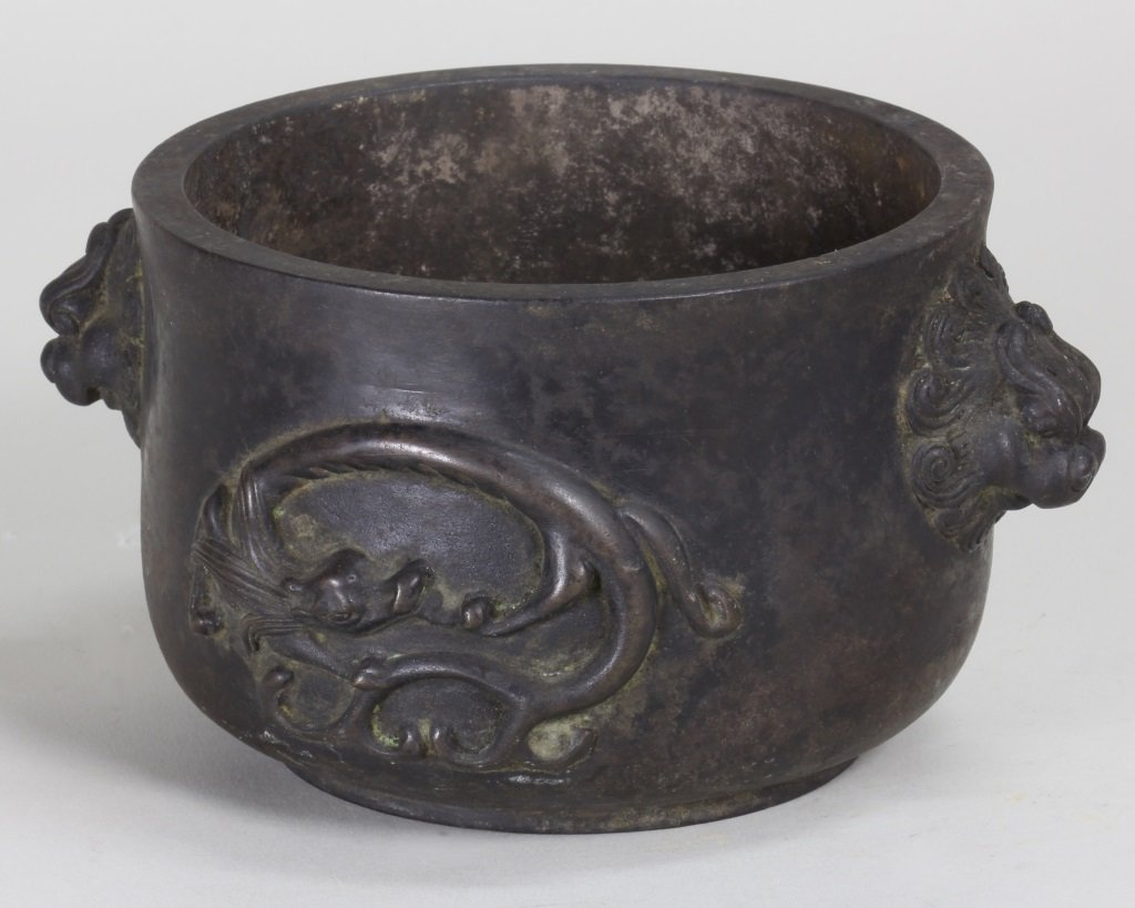 QING BRONZE CENSER CARVING WITH DRAGON AND SONGHU - 4