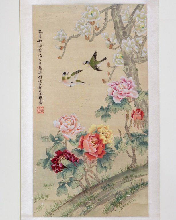 SCROLL OF FLORAL&BIRD PAINTING SIGNED ZHAO, DAN