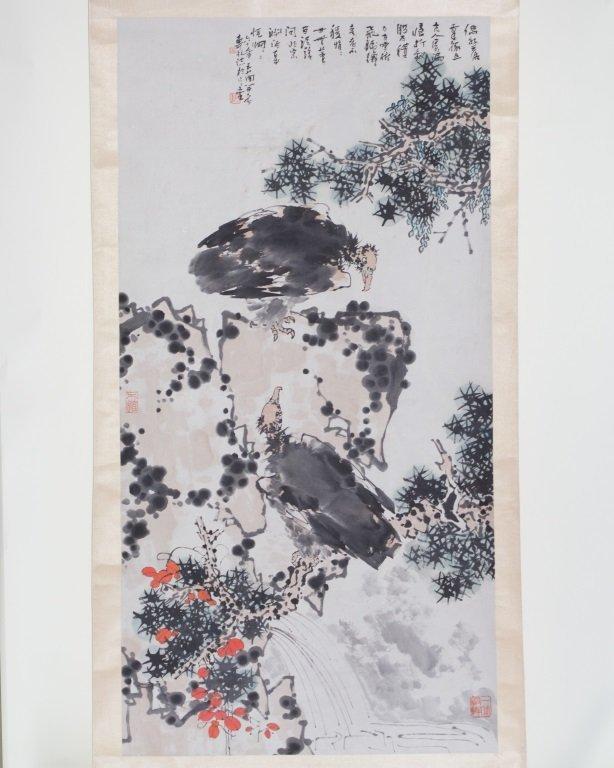 Scroll of Watercolor Painting Signed Pan TianShou