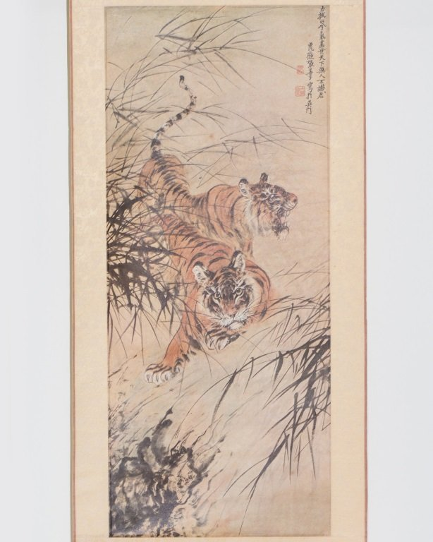 SCROLL OF TIGER PAITING SIGNED ZHANG, SHAN ZI