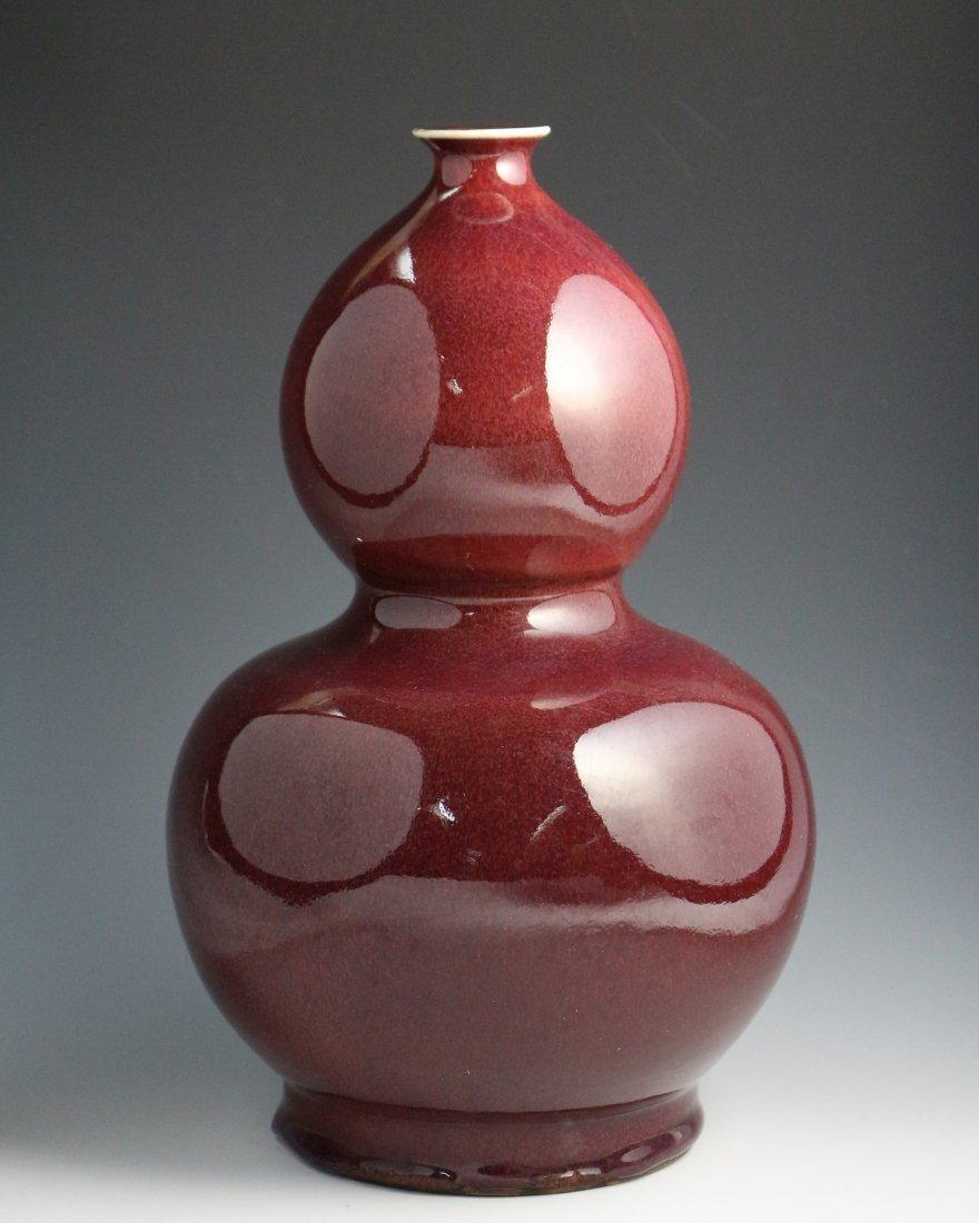 RED GLAZE DOUBLE-GOURD VASE