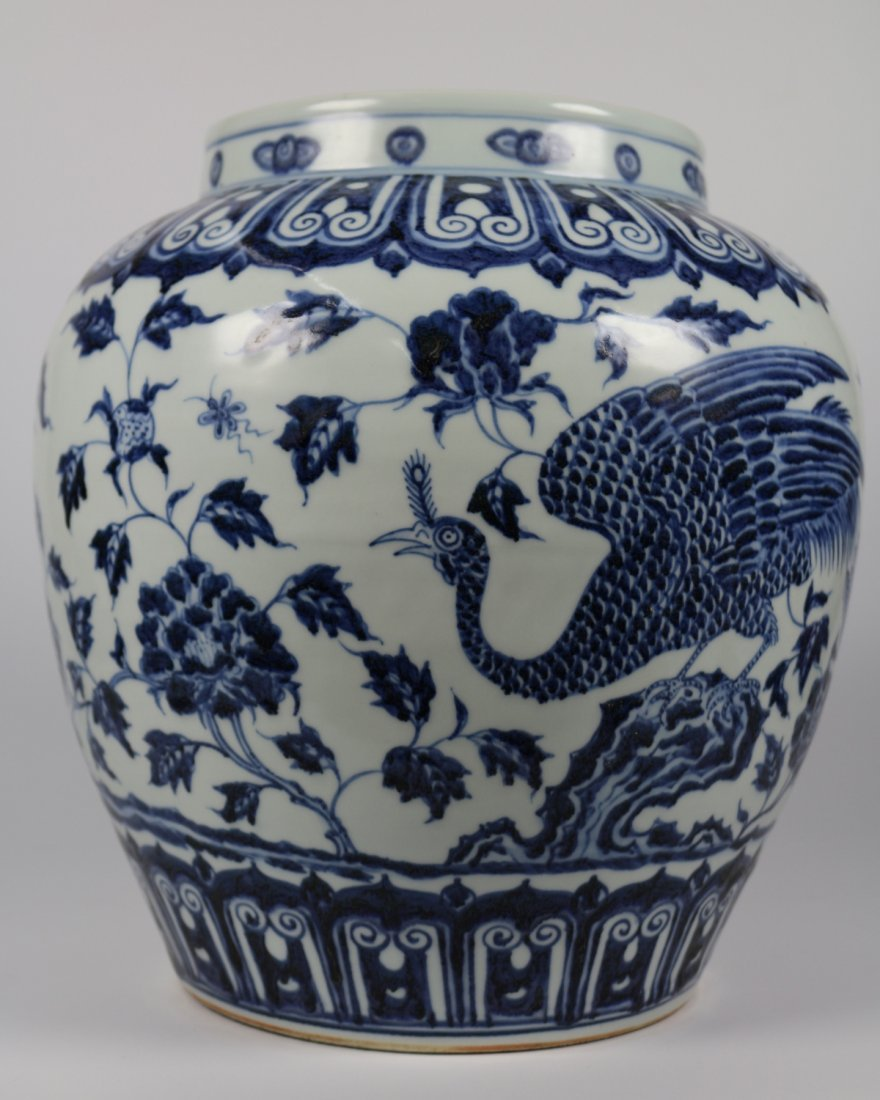 EARLY MING BLUE&WHITE PHOENIX PATTERN JAR