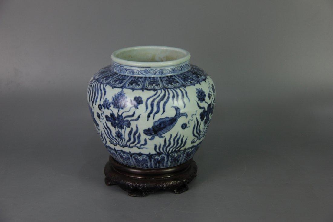 MING XUANDE MARK BLUE&WHITE JAR - 4