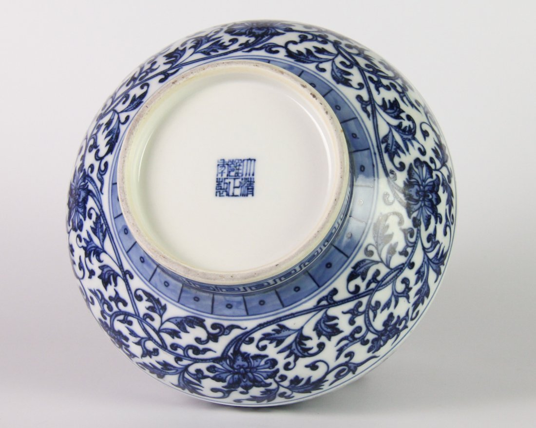 YONGZHENG MARK BLUE&WHITE LOTUS JAR - 4