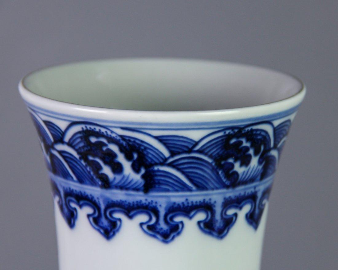 DAQING QIANLONG NIANZHI MARK BLUE&WHITE BOTTLE VASE - 8