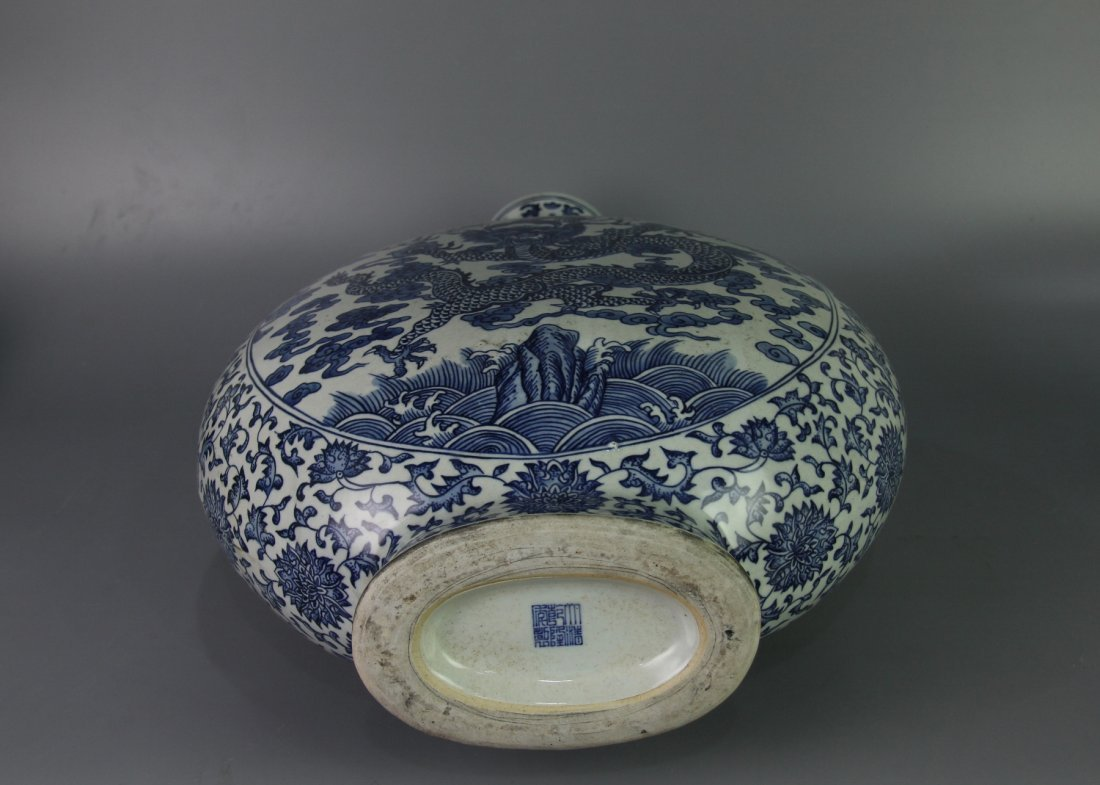 QING QIANLONG MARK BLUE&WHITE MOON-FLASK VASE - 7
