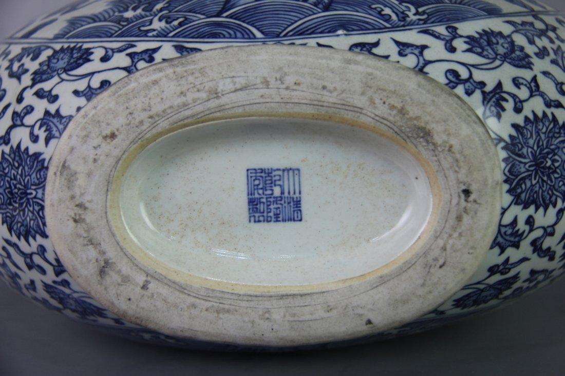 QING QIANLONG MARK BLUE&WHITE MOON-FLASK VASE - 8