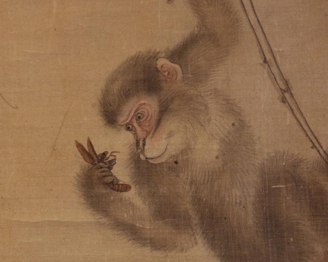 Scroll of Monkey Watercolor Painting Signed ZuXian - 5