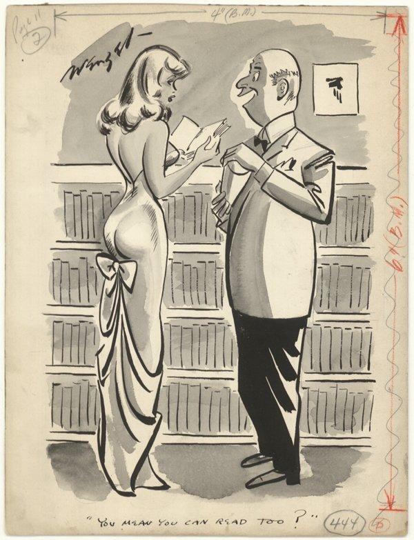 4: W Engel Playboy type cartoon original comic art