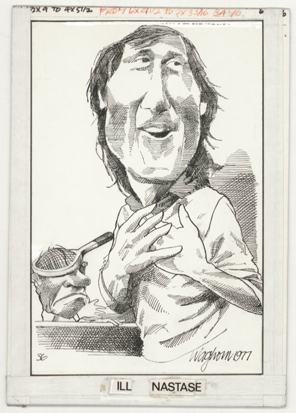 7: Waghorn caricature Ilie Nastase original comic ar