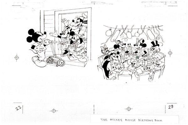 17: Disney 2 Mickey Birthday Book original comic art