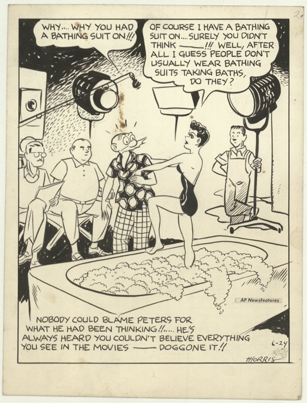 20: Morris AP cartoon 6/24/60s original comic art